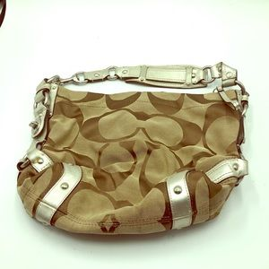 Coach Carly Signature Shoulder Bag Silver Accents